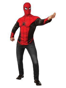 Spider-Man Far From Home Spider-Man Red and Black Costume Top for Adults
