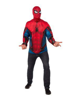 Spider-Man Far From Home Spider-Man Red and Blue Top Costume for Adults