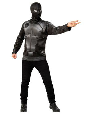 Spider-Man Far From Home Spider-man Stealth Black and Gray Top Costume