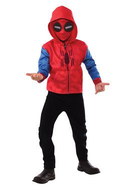 Spider-Man Homecoming Kids Spider-Man Zip Up Hooded Costume Top And Mask Set