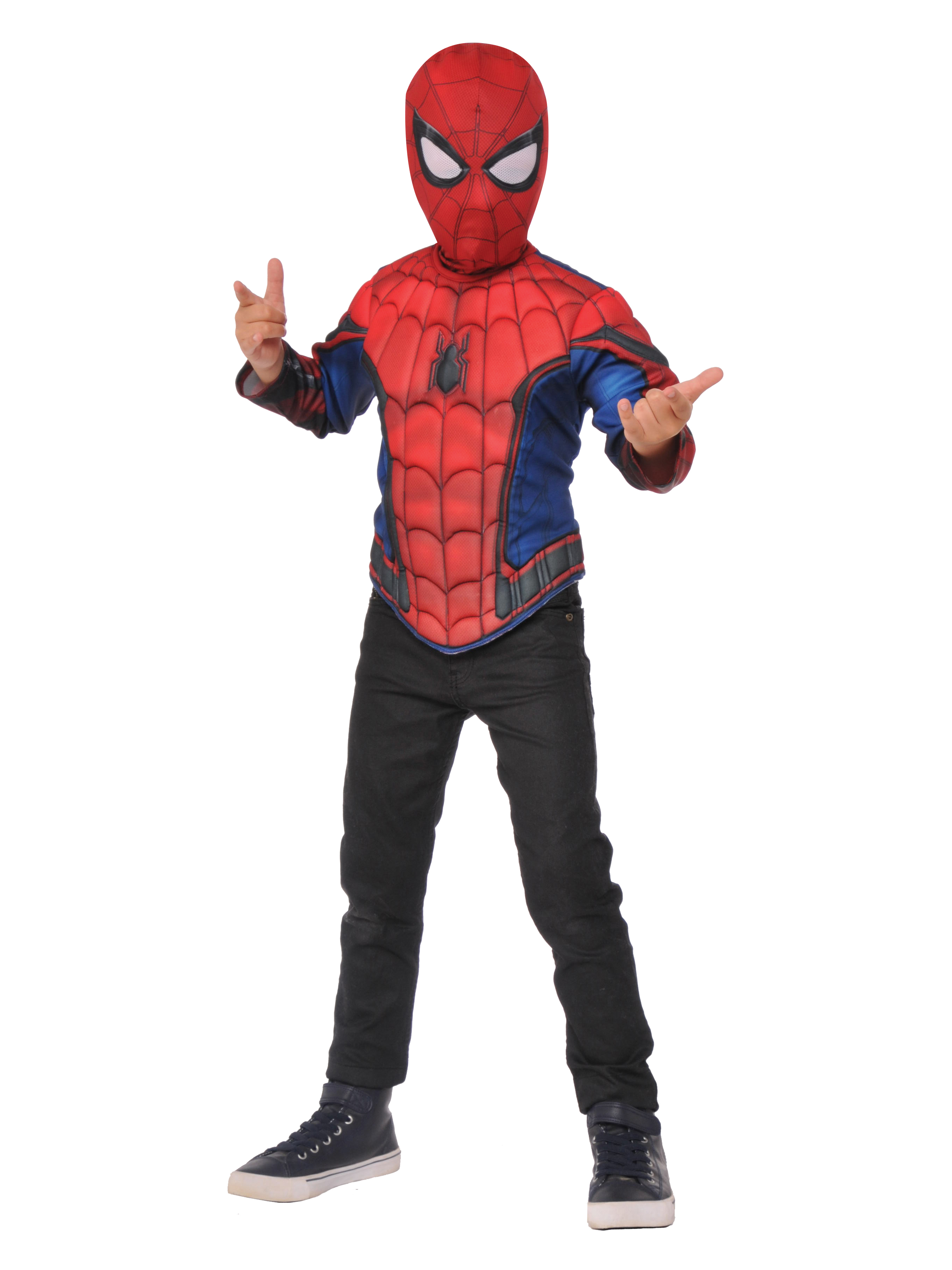 Spider-Man Homecoming Boys Spider-Man Deluxe Muscle Chest Shirt And Mask Set G31936IBR-S