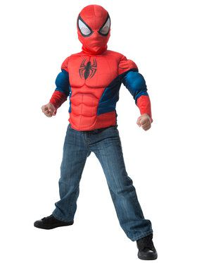 Spider-Man Muscle Chest Shirt And Mask Set