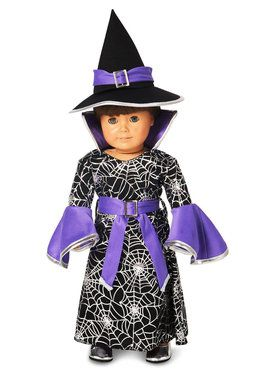 """Spider Web Silver Printed Witch 18"""" Doll Costume"""