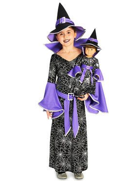 Spider Web Silver Printed Witch Costume with Matching Doll Costume