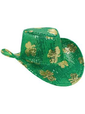 Adult St. Patrick's Day Sequin Cowboy Hat For Adults