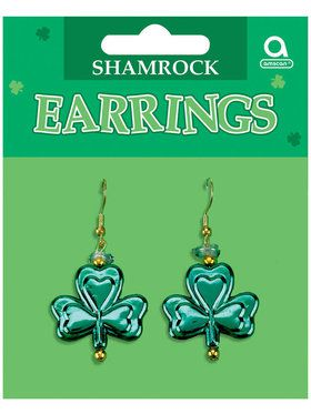 St Patricks Day Shamrock Dangling Earrings