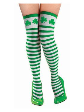 St. Patrick's Day Striped Thigh Highs