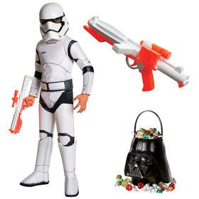 Star Wars Episode VII: The Last Jedi - Storm Trooper Super Deluxe Child Costume With Blaster and Candy Pail
