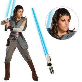 Star Wars Episode VIII: The Last Jedi - Womens Super Deluxe Rey Costume With Wig And Lightsaber