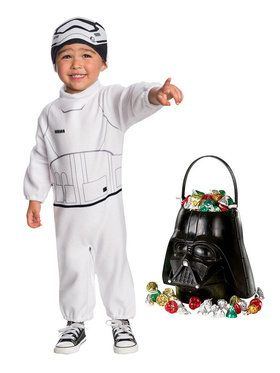 Star Wars Episode VII: The Last Jedi - Stormtrooper Toddler Costume and Candy Pail Bundle