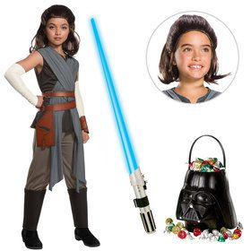 Star Wars Episode VIII: The Last Jedi - Deluxe Girls Rey Costume With Wig And Lightsaber Bundle