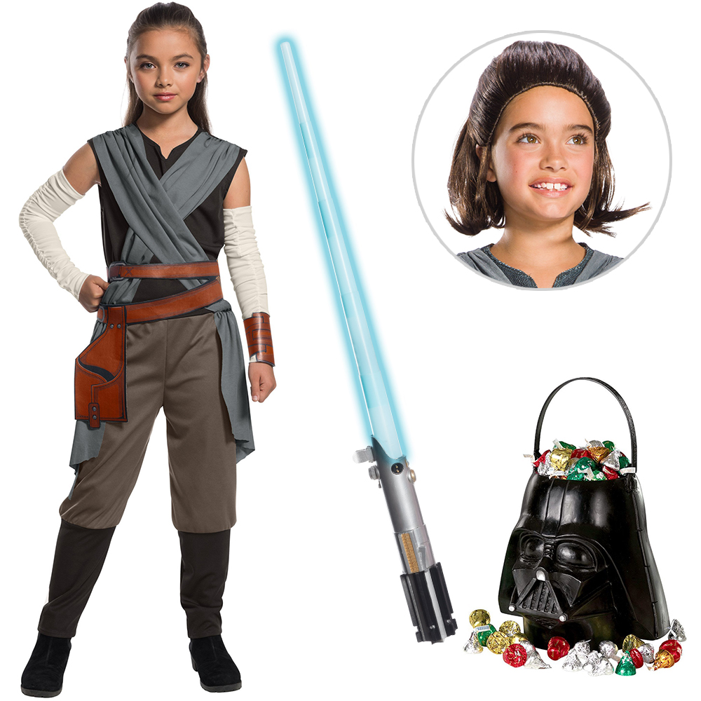 Star Wars Episode VIII: The Last Jedi - Girl's Rey Costume with Wig and Lightsaber Bundle 274881