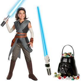 Star Wars Episode VIII: The Last Jedi - Super Deluxe Girl's Rey Costume and Lightsaber Bundle
