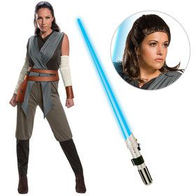 Star Wars Episode VIII: The Last Jedi - Womens Classic Rey Costume With Wig And Lightsaber