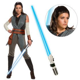 Star Wars Episode VIII: The Last Jedi - Womens Deluxe Rey Costume With Wig And Lightsaber