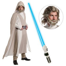 Star Wars Episode VIII: The Last Jedi - Deluxe Mens Luke Skywalker Costume With Wig And Lightsaber