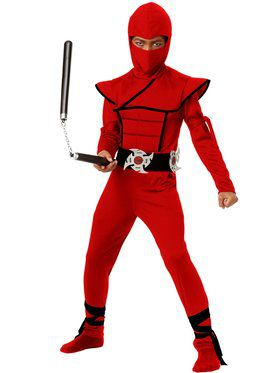Stealth Red Ninja Boy's Costume