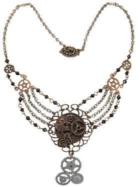 Steampunk Gear Chain Antique Necklace For Adults