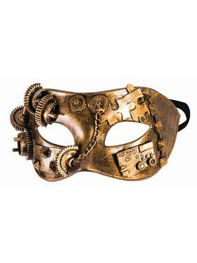 Steampunk Masks Eye Mask With Gears and Chain Gold Accessory