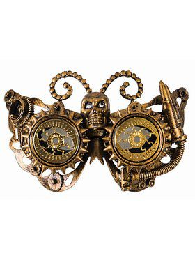 Steampunk Masks Eye Mask With Skull Gold Accessory