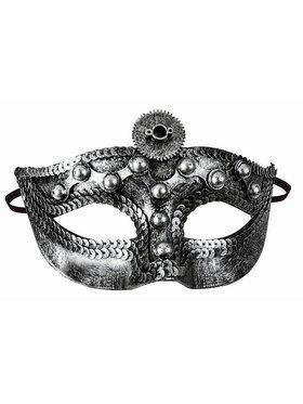 Steampunk Mask With Studs Silver Accessory