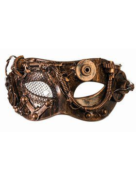 Steampunk Masks With Tubes Bronze Accessory