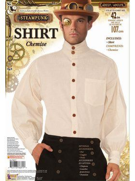 Steampunk Shirt Men's Beige Costume