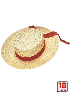 Straw Gondolier Hat Adult 10 Pack