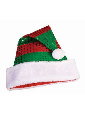 Striped Foil Dot Santa Hat Accessory