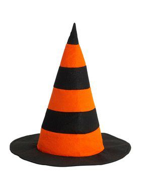 Striped Witch Hat Orange And Black Accessory