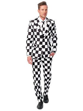 Suitmeister Checked Black White Men's Suit and Tie Set