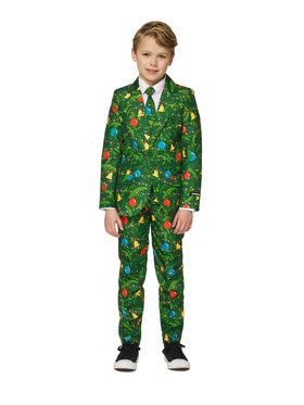 Boy's Green Christmas Tree Suitmeister Set