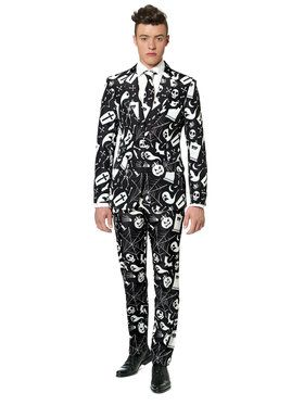 Men's Suitmeister Halloween Black Icons Suit and Tie