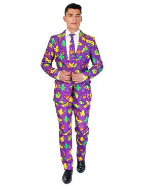Suitmeister - Suit And Tie Set - Purple Mardi Gras Icons