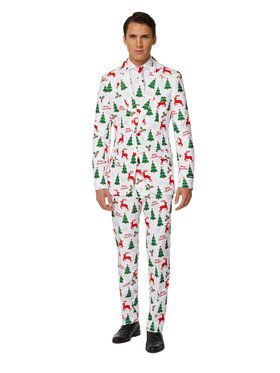 Suitmeister - Suit And Tie Set - Merry Christmas Reindeer And Tree Pattern