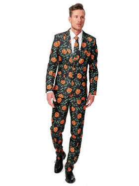 Men's Suitmeister Pumpkin Leaves Suit and Tie