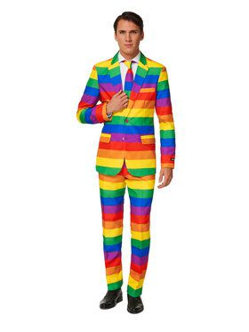Suitmeister - Suit And Tie Set - Rainbow Striped Pride Pattern