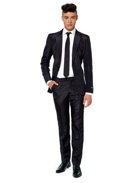 Suitmeister Solid Black Mens Suit And Tie Set
