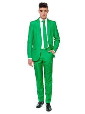 Suitmeister Solid Green Mens Suit And Tie Set