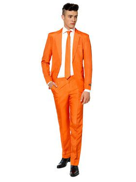 Suitmeister Solid Orange Mens Suit And Tie Set