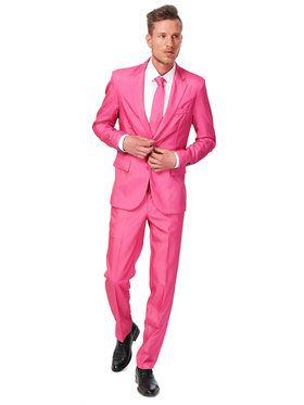 Suitmeister Solid Pink Mens Suit And Tie Set