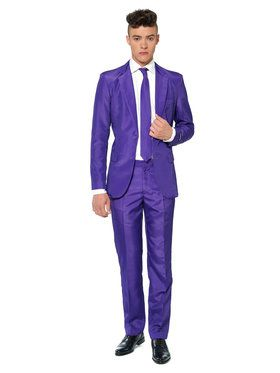 Suitmeister Solid Purple Mens Suit And Tie Set