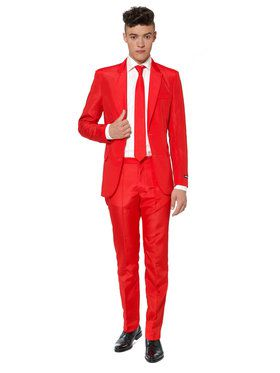 Suitmeister Solid Red Mens Suit and Tie for Halloween