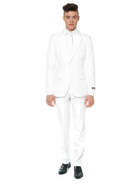 Suitmeister Solid White Mens Suit And Tie Set