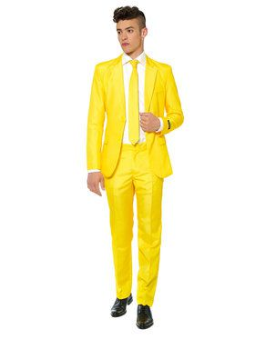 Suitmeister Solid Yellow Mens Suit And Tie Set