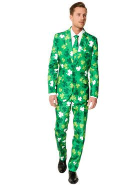 Men's Suitmeister St. Patrick's Day Clovers Suit and Tie