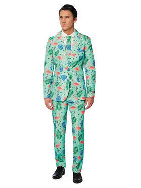 Suitmeister - Suit And Tie Set - Tropical Green Flamingo Pattern
