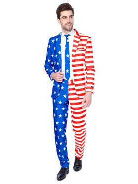 Suitmeister USA Flag Mens Suit and Tie for Halloween