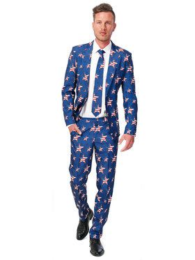 Men's Suitmeister USA Stars and Stripes Suit and Tie