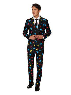 Suitmeister Videogame Mens Suit and Tie for Halloween